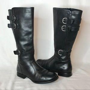 Born Attila Tall Knee High Black Leather Boots 8.5